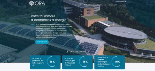 Page du site internet ORA.