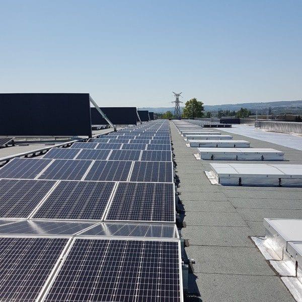 Panneaux solaires sur le toit de l'usine Calor.